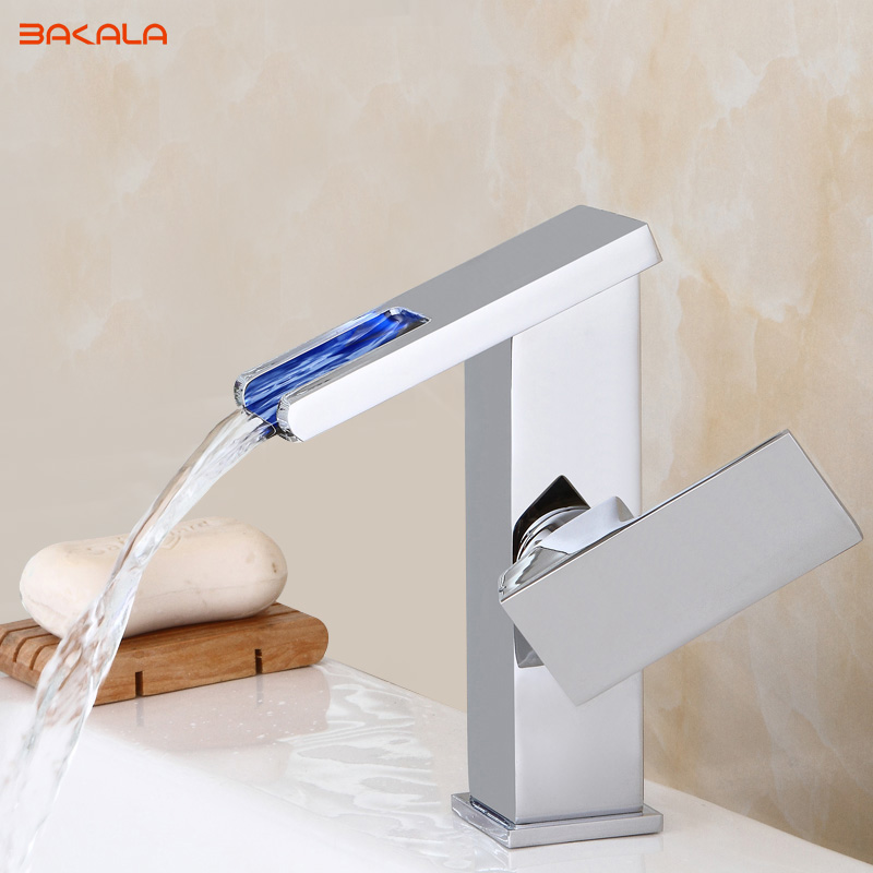 LED Faucet Water Powered Bathroom Basin Faucet Chrome Polish Brass Mixer Tap Waterfall Faucet Hot Cold Basin Tap BR-20174011/2 infos bathroom led waterfall water tap