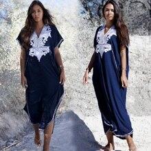 Womens Print Kaftan Loungewear Caftan Beach Long Dress Bikini Swimsuit Cover up Swimwear