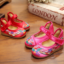 New chinese style fashion beautiful phoenix embroidery child canvas flats shoes dance shoes for children foot length 15-19cm