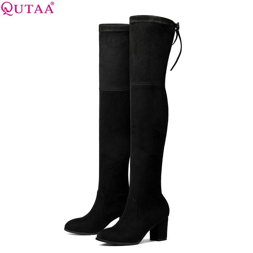 цены на QUTAA 2018 Women Over The Knee High Boots Fashion Winter Short Plush Lining Keep Warm Sexy Square High Heel Boots Size 34-43 в интернет-магазинах
