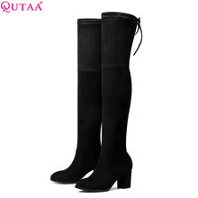 QUTAA 2018 Women Over The Knee High Boots Fashion Winter Short Plush Lining Keep Warm Sexy Square High Heel Boots Size 34-43
