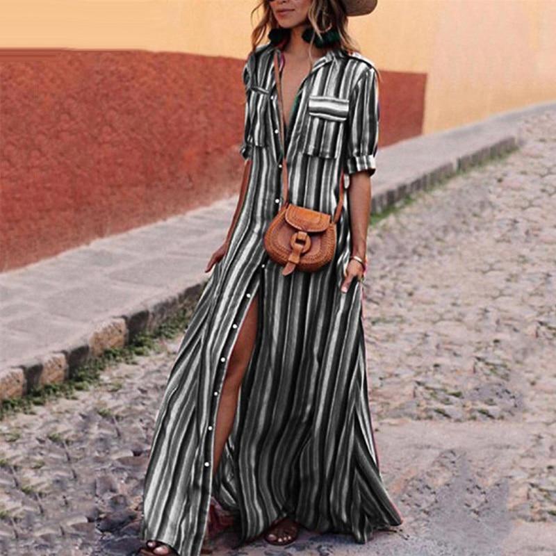 320eaf2dac1 Ursohot Summer Rainbow Striped Dress Women Buttons Long Shirt Maxi Dress  2018 Bohemia Half Sleeve Beach Party Robe Plus Size 3XL