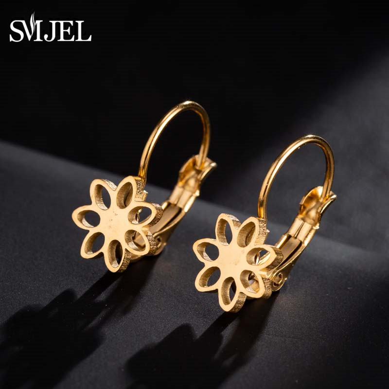 SMJEL Fashion Gold Color Stainless Steel Flower Earrings For Women Kids Jewelry Cute Star Daisy Stud Earrings Ohrringe