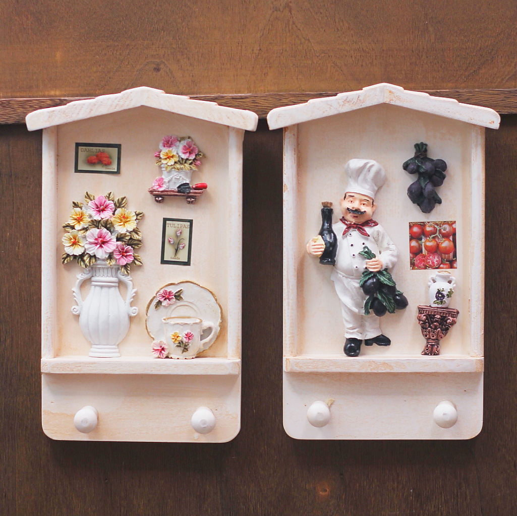Decorative key boxes wall : The european and american country vintage wood key box