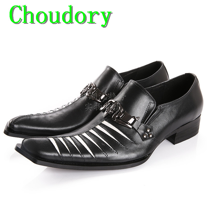 Choudory Height Increasing Breathable Black And White Skin Mens Shoes Casual Pointed Toe Leather Wedding Cutouts Men Dress Shoes