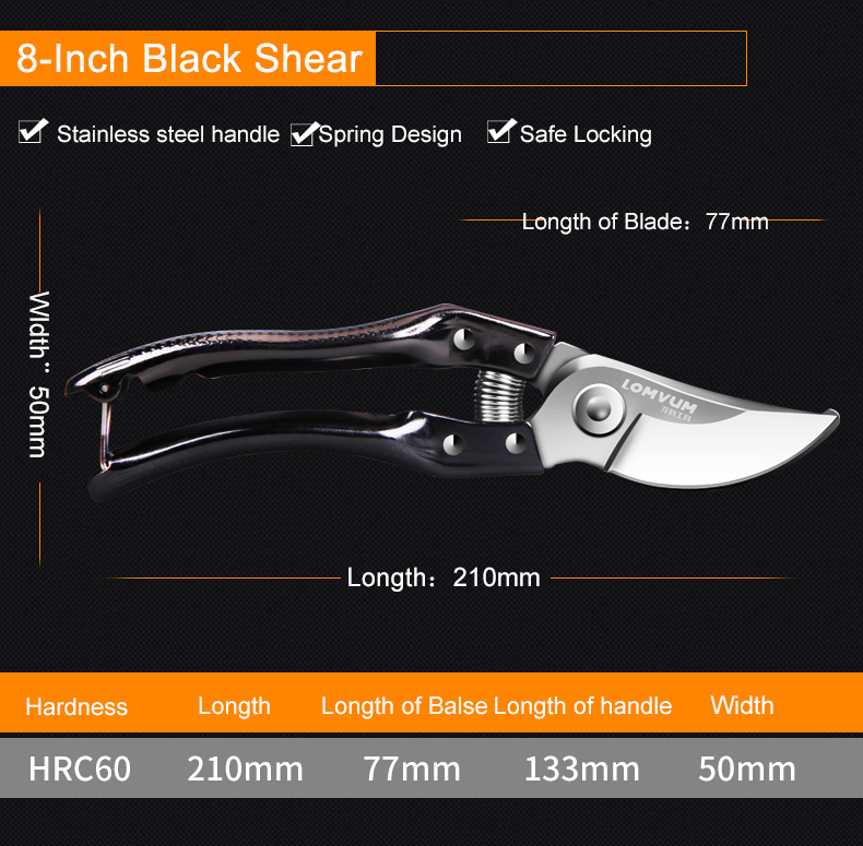 LOMVUM High Quality Gardening Scissors for Pruning of Branches shrubs and flowers with Safety 17