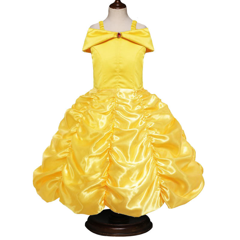 Belle Princess Dresses for Girls Dress Beauty and The Beast Dress for Kids Party Clothing Magic Stick Crown Children Costume girls dresses for party and wedding children clothing cheongsam lace evening princess costume kids clothes korean style belle