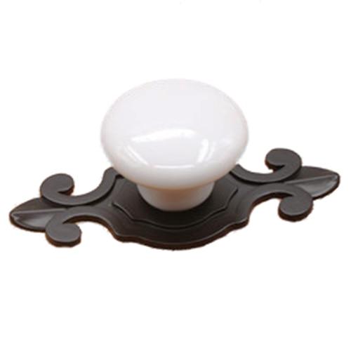 1pcs Ceramic Door Round Handles Kitchen Cabinet Knobs Cupboard Wardrobe Pull (white round + Black flower base)