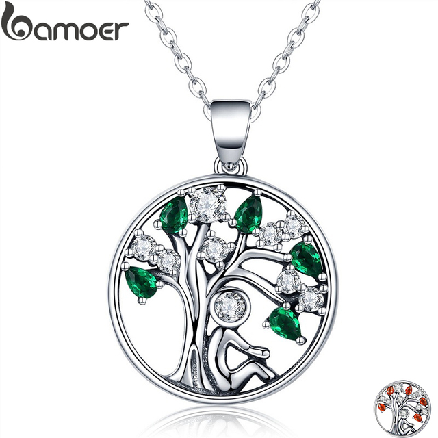 BAMOER Popular 925 Sterling Silver Rely Tree of Life Pendant Necklaces Clear Gre