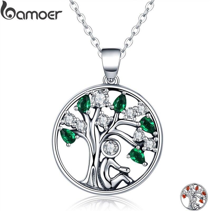 BAMOER Popular de la plata esterlina 925 confiar Árbol de la vida colgante collares verde claro CZ joyería de moda de las mujeres Brincos regalo SCN094