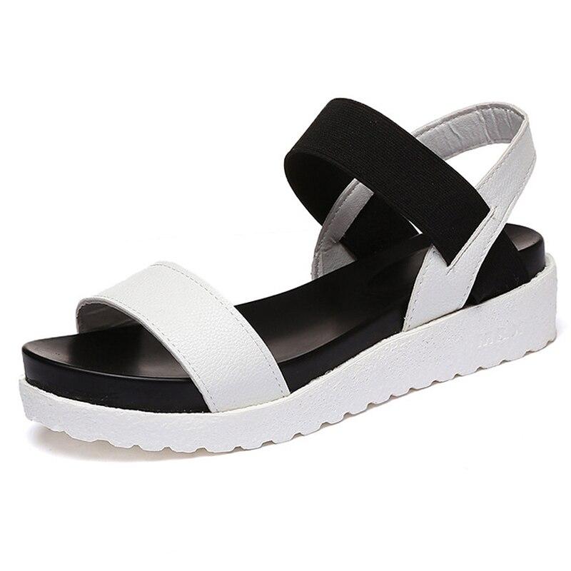 2017 Women Sandals Platform Sandals Summer Casual Shoes Woman Ladies  Flats Shoes Women's Footwear White Black gladiator sandals 2017 fock women summer comfort flats fashion creepers platform casual shoes woman 2 colors