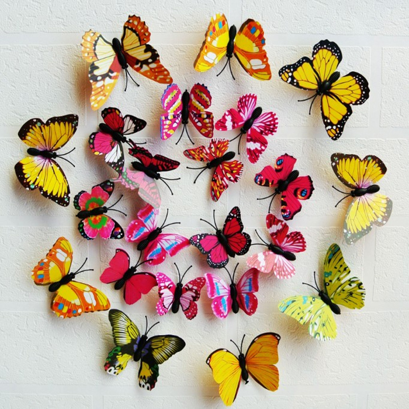 12ks / sada PVC 3D vícebarevný motýl tvar samolepky na zeď pro domácí dekorace TV pozadí děti ložnice nástěnné obtisky lednice