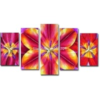 Hand Painted Abstract Five pieces Combination FLower Oil Painting on Canvas Red Flower Wall PicturesLiving Room Home Wall Decor