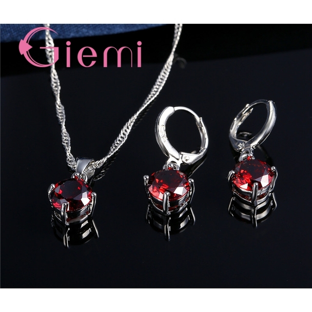 Giemi Hot Sale 8 Colors Crystal Pendant Necklace Earrings Set S90 Silver Color Elegant Jewelry Set Women Valentine Gifts 2