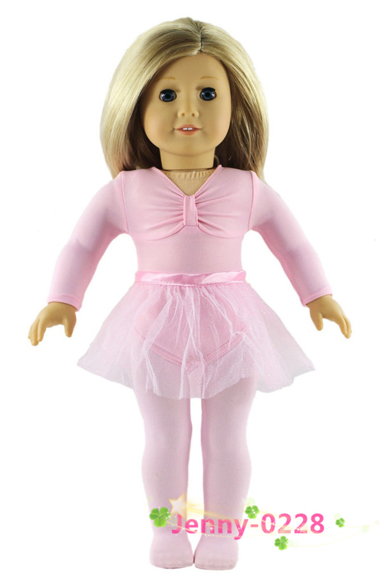 4 PCS Set Doll Clothes Ballet Dress Outfit for 18 inch American Girl Doll