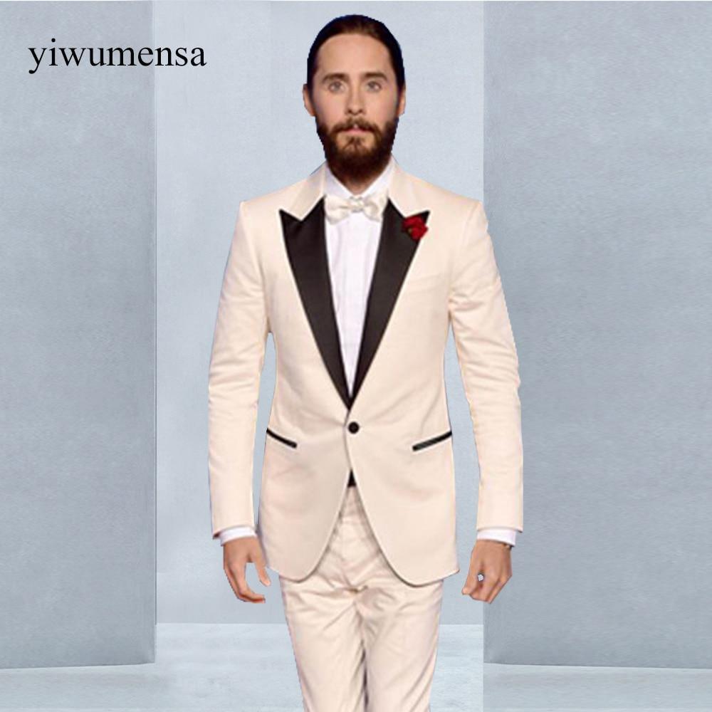 YWMS 465 Shawl lapel Black with Ivory Luxury wedding Groom Suits ...
