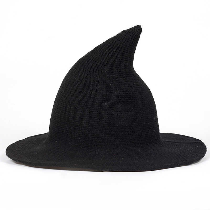 0da963613fc high quality Spiky Witch Hat Foldable Cap Women Winter Thick wool caps Knit  Spiked outdoor women