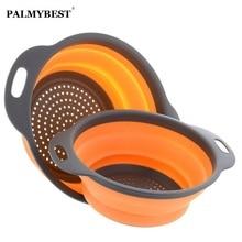 Collapsible Silicone Colander Folding Kitchen Strainer Fruit Basket