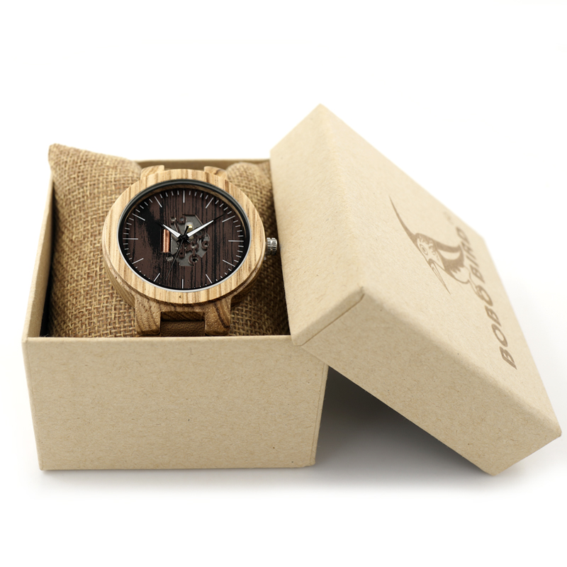 Luminous wood watches leather band (7)