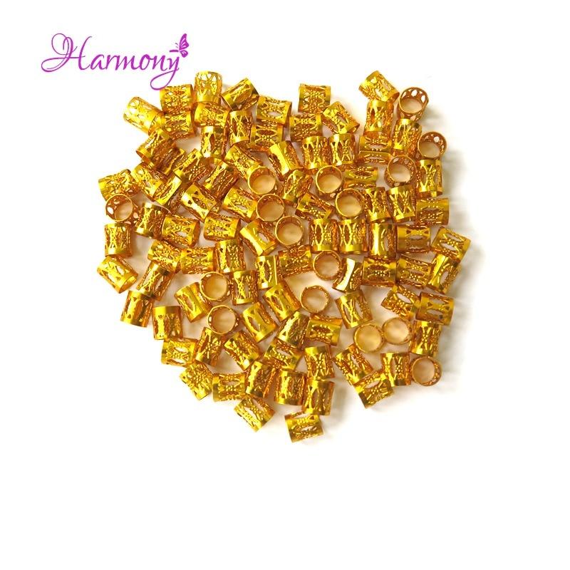 100pcs/lot Gold metal tube ring dreadlock beads for braids hair beads for dreadlocks adjustable hair braid cuff clips