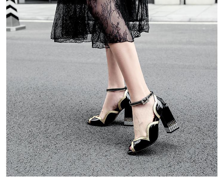 Toe Sandalen Peep Knöchel Farbe Leder Oberen Schuhe Frauen Fretwork Patent Hochzeit as Mixed Shiny Show Heels As Schnalle High Show Rüschen Frau 8wv6qPd
