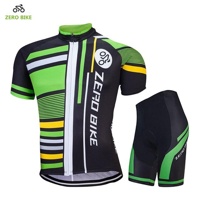 ZERO BIKE Outdoor Sports Men s Short Sleeve Cycling Jersey Set Mountain Bike  Green T-shirt Tight Shorts 4D Gel Padded b1bc7d7a9