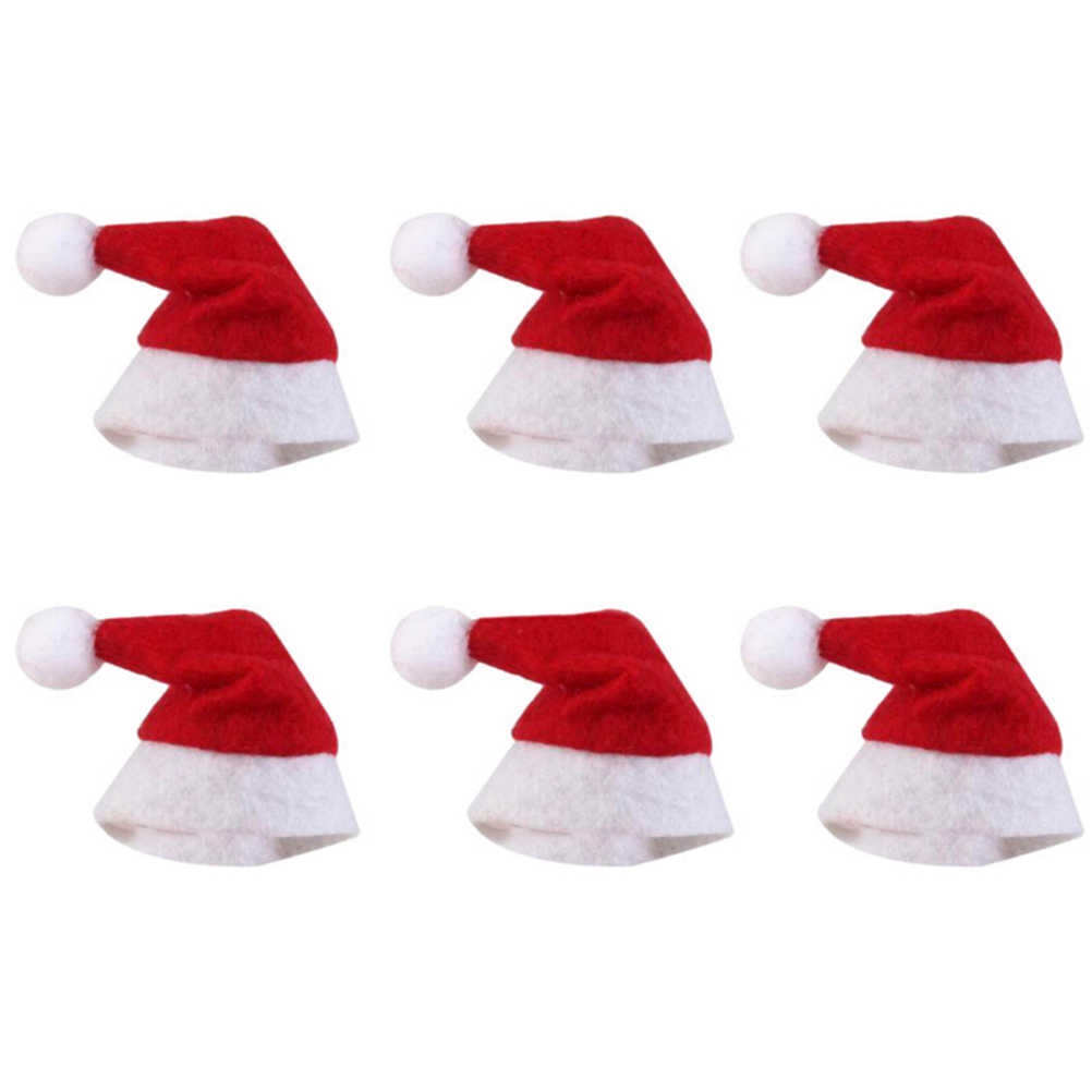6pcs/30pcs Mini Christmas Hat Santa Claus Hat Xmas Lollipop Hat Mini Wedding Gift Creative Caps Christmas Tree Ornament Decor