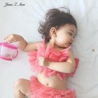 Jane Ann Z infantil baby girl clothes criança rosa funda malha conjunto de roupas top + pp bloomers fralda capa ins fotografia adereços