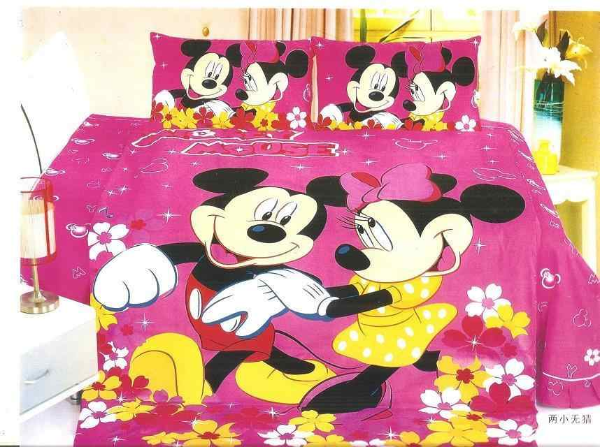 hot Mickey Minnie mouse bedding sets Children's girl bedroom decor single twin size bed sheets quilt duvet covers 3pcs no filler