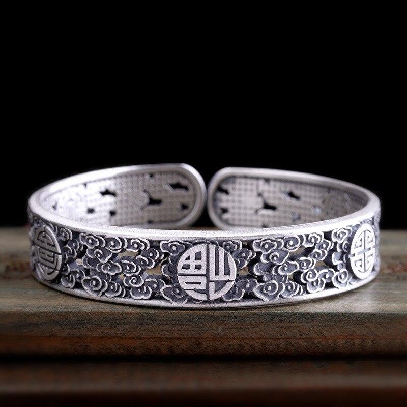 Bracelets de manchette en argent 925 garantis bracelet femmes hommes chanceux gravés Bracelets d'inspiration ethnique Brazaletes Pulseras Mujer