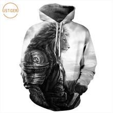36c897c38f7a ISTider Harajuku Battlegear Lion Print 3D Tracksuit Hip Hop Black Gray Hoodie  Sweatshirt Men Women Unisex Streetwear Punk Tops