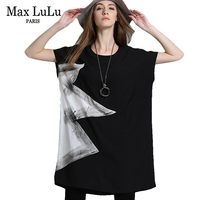 Max LuLu Summer 2018 Fashion European Brand Tops Tee Shirts Womens 3d Printed Long T Shirt