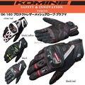 Envío gratis KOMINE GK 160 Toque Proteger Los Nudillos de Carbono Guantes de Moto guantes de Cuero A Prueba de agua de Malla de Pantalla táctil Guantes
