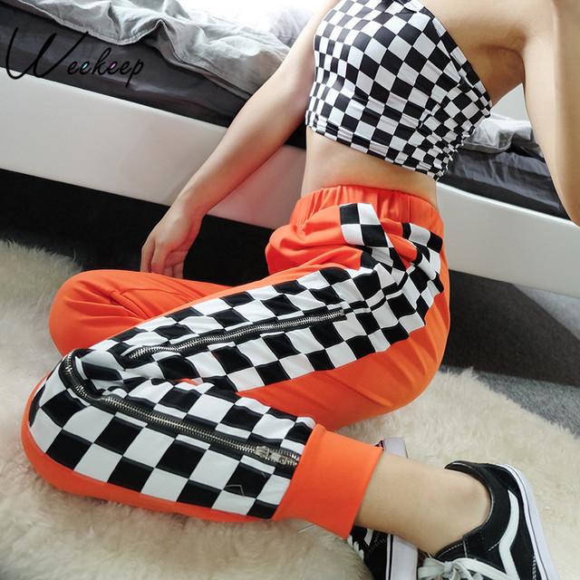 Weekeep Women High Waist Side Checkerboard Pants Zipper Split Streetwear Sweatpants Womens Trousers Plaid Pencil Pants