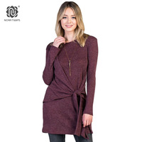 NORA TWIPS 2017 Women Fashion Solid Dress Long Sleeve Polyester Cotton Casual Winter Dresses Black Friday