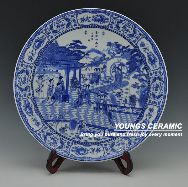 Chinese Antique Blue White Porcelain Wall Decorative Ceramic Plates For Hanging