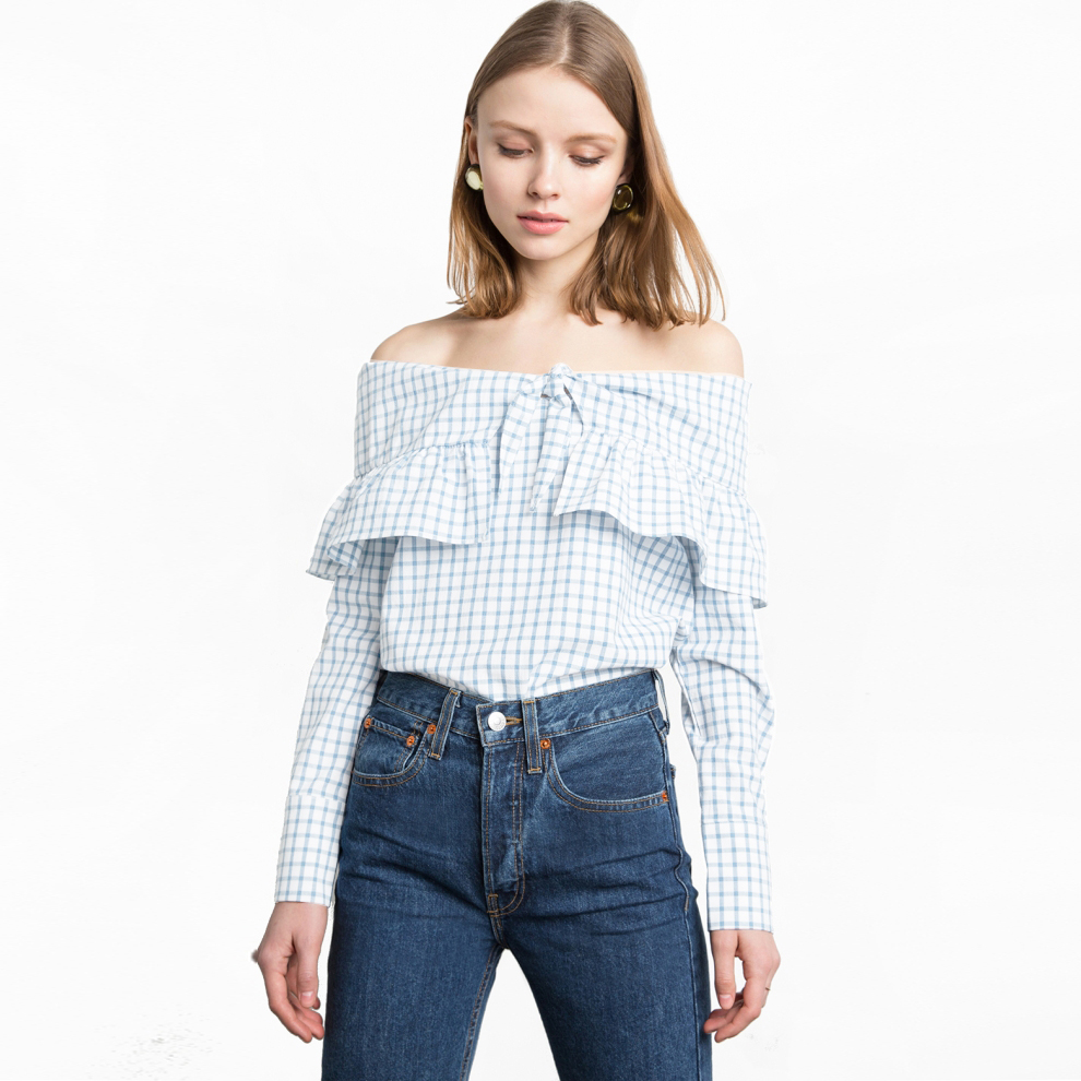 Long sleeve blue white gingham blouses for women cute tie front ruffle off the shoulder tops ladies slim fit cotton plaid shirts