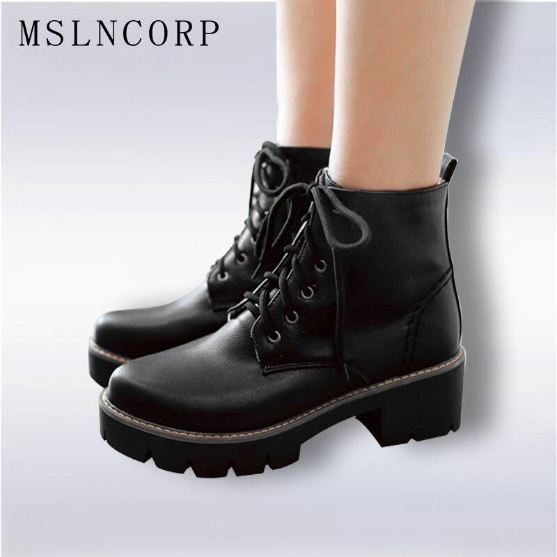 Плюс Размеры 34–43 осень-зима теплые женские Модные теплые зимние женские ботинки на шнуровке на платформе черные ботильоны повседневные полуботинки Martin со шнуровкой; Большие размеры 34–43