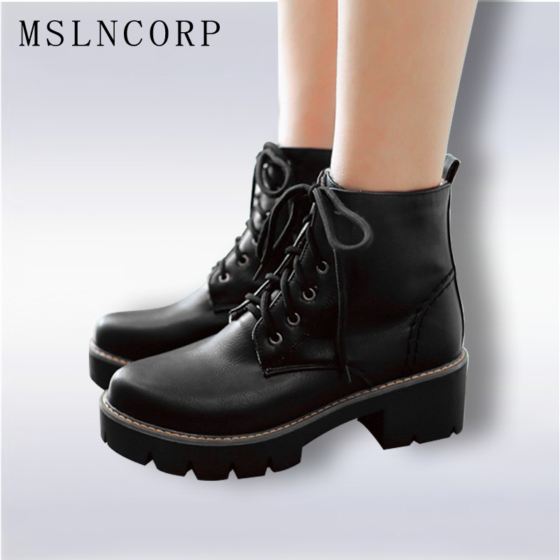 Plus Size 34-43 Autumn Winter warm Fashion Women's Lace-Up Women Snow Boots Platform Black Ankle boots Casual Martin Boots Shoes esveva casual winter women shoes warm fur lace up snow boots wedges heel platform ankle boots black white plush fashion boots