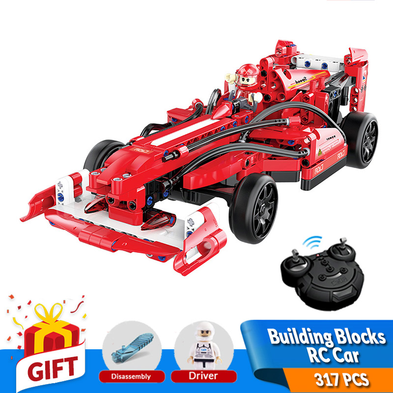 317PCS Building Blocks Remote Control RC F1 Racing Car Model Kits Battery Bricks Compatible Legos Toys Birthday Gift for kids minecrafted building blocks toys bricks figures compatible legos minecraft friends city toys birthday gift for kids gift toys