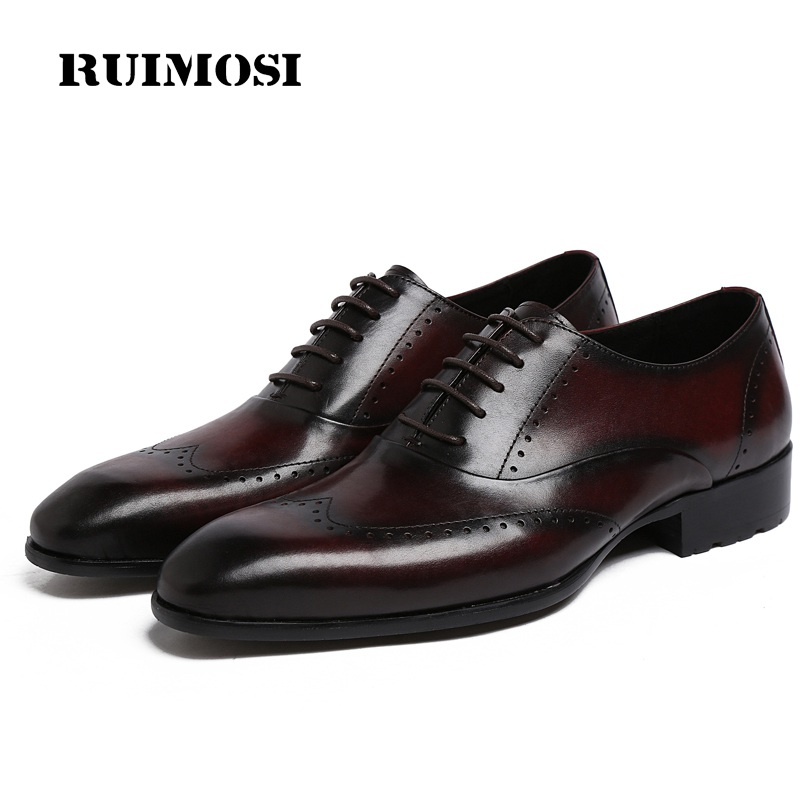 RUIMOSI Round Toe Wing Tip Man Dress Shoes Genuine Leather Brogue Oxfords Male Luxury Brand Formal Men's Wedding Flats JD69