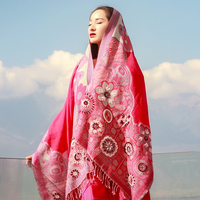 Japanese commuter in India handmade beaded exquisite floral red scarf women Nepal boiled wool shawl for Ladies warm