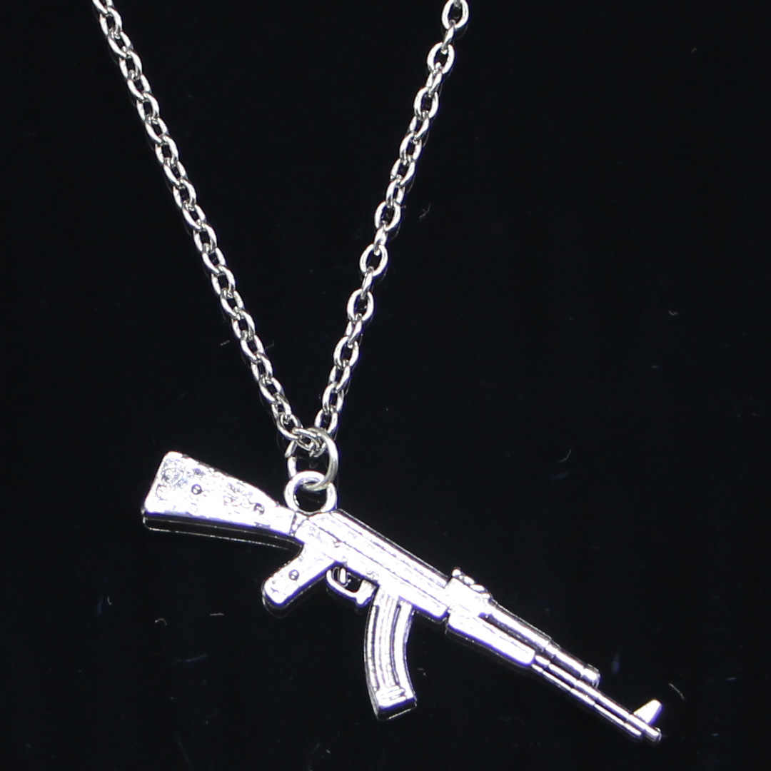 New Fashion Necklace 44x15mm machine gun assault rifle ak-47 Silver Pendants Short Long Women Men Colar Gift Jewelry Choker