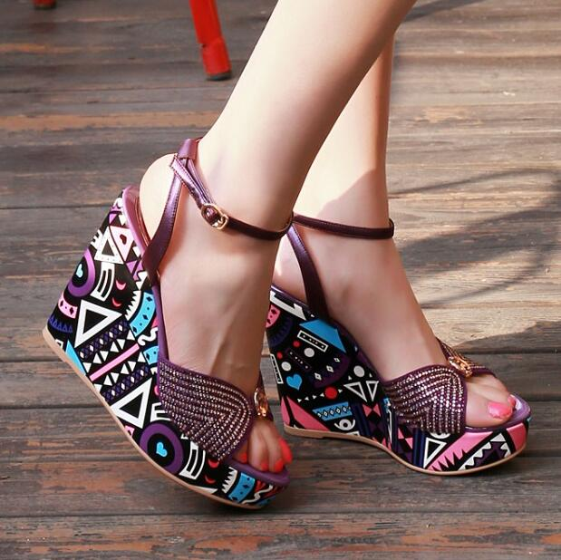 Women 2016 Summer New Rhinestone Print Wedges High Heel Fashion Sandals Open The Toe Corium Ethnic Style Trifle Sandals 2016 summer fashion crystal mid heel wedges buckle women sandals new camel women shoes comfortable stylish rhinestone sandals