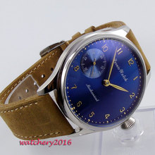 цена 44mm Parnis Blue dial men's watches of the famous luxury brand 17 jewels 6497 movement hand winding Mechanical Men's Watch онлайн в 2017 году