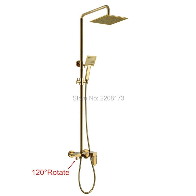 Smesiteli nowe życie luksusowa łazienka 10 Cal Abs wodospad deszczownica głowy mosiądz złoty czarny chrom Exposed prysznic kran zestaw