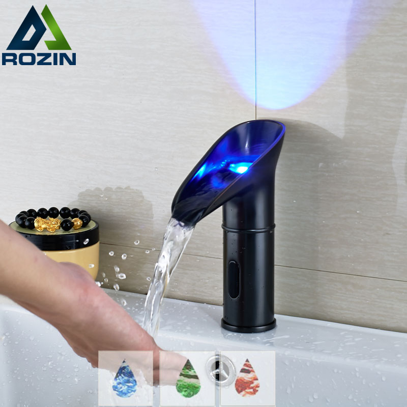 Led light waterfall basin faucet black bathroom automatic - Bathroom faucets with led lights ...