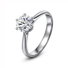 Classic  14K White Gold 1ct 2ct 3ct Moissanite Ring VVS1 Round Cut Diamond Engagement wedding Anniversary Ring For Women цены онлайн
