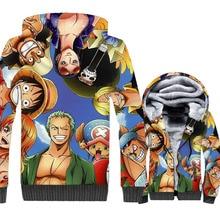 Cartoon Caracters Jacket For Men 2019 Winter Zipper Hoodies Gothic Mens Jackets One Piece Cosplay Sweatshirt Harajuku Thick Top