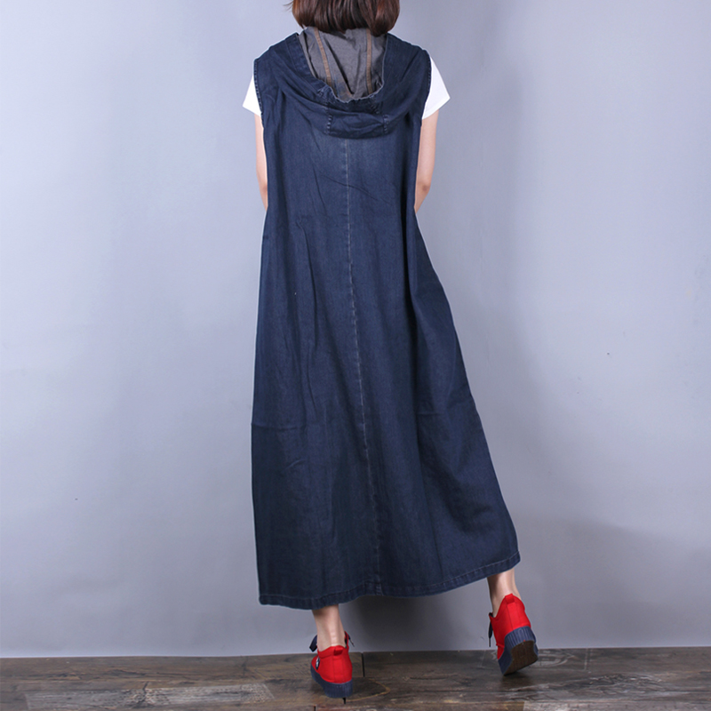 จัดส่งฟรี 2019 New Fashion Long กลางลูกวัว Denim แขนกุดผู้หญิงกางเกงยีนส์กับกระเป๋าขนาด A   Line Hooded ชุด-ใน ชุดเดรส จาก เสื้อผ้าสตรี บน   2